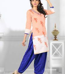 Buy Peach and Off White embroidered Chanderi  semi stitched salwar with dupatta party-wear-salwar-kameez online