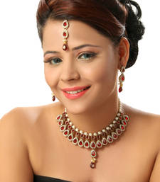 Buy Extraordinary Choker Set in Maroon with Pearls necklace-set online