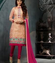 Buy Pink embroidered Chanderi unstitched salwar with dupatta dress-material online
