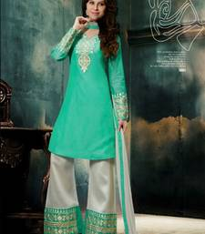 Buy Seagreen and White  embroidered Chanderi unstitched salwar with dupatta dress-material online