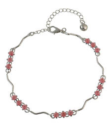 Buy Pink Rhinestone Studded Silver Anklet for Women anklet online