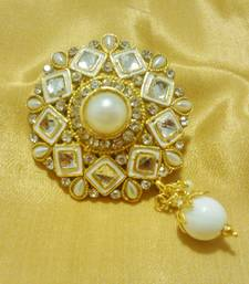 Buy Designer White CZ Saree Pin Brooch brooch online