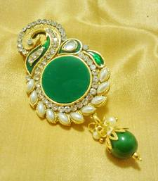 Buy Designer Green CZ Saree Pin Brooch brooch online