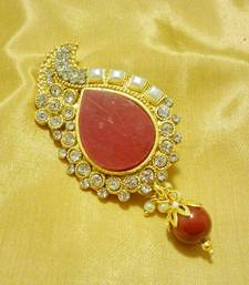 Buy Designer Red CZ Saree Pin Brooch brooch online