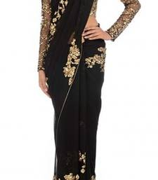 Buy black embroidered georgette saree with blouse net-saree online