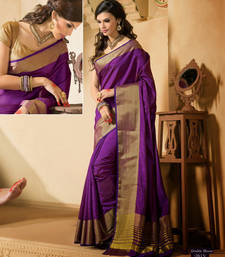 Buy Purple Zari Silk saree with  2 blouse banarasi-silk-saree online