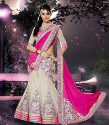 White and Pink Embroidered Net and Chiffon unstitched lehenga-choli shop online
