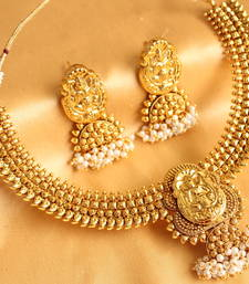 Buy Gorgeous goldplated royal lakshmi necklace with earrings necklace-set online