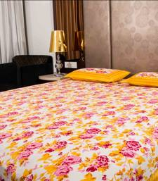 Buy Pure Cotton Yellow and Pink Color Floral Sanganeri Print Double Bedsheet bed-sheet online