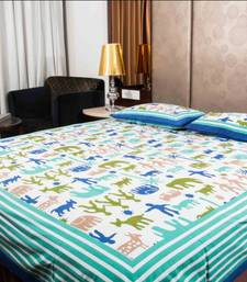 Buy Pure Cotton Multicolor Sanganeri Print Double Bedsheet bed-sheet online