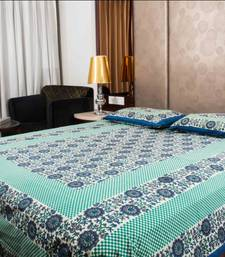 Buy Pure Cotton Sea Green Sanganeri Print Double Bedsheet bed-sheet online
