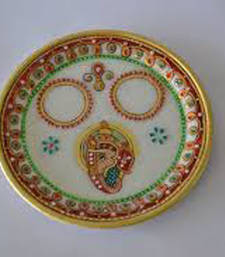 Buy Marble pooja thali for Diwali tray online
