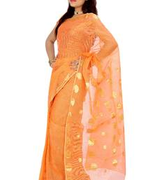 Orange woven cotton saree with blouse shop online