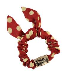 Buy Polka Dot Red Fabric Hair Rubber Band for Women Other online