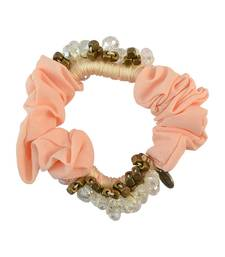 Buy Beads Peach Fabric Hair Rubber Band for Women Other online