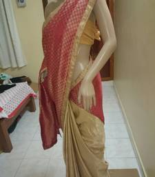 Buy RED  and  BEIGE printed velvet saree with blouse velvet-saree online