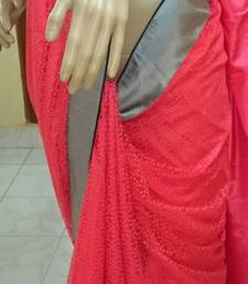 Buy PEACH plain net saree with blouse net-saree online