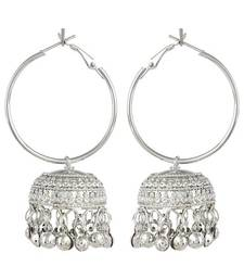 Buy  Silver Alloy Hoop with jhumki Earrings hoop online