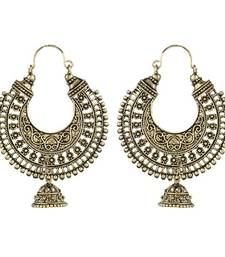 Buy Ethnic Golden Metal Hoop Earrings hoop online