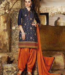 Blue embroidered cotton and cambric unstitched salwar wirhy dupatta shop online