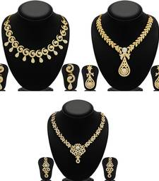 Buy Glimmery 3 Pieces Necklace Set Combo jewellery-combo online