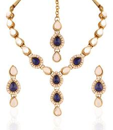 Buy Alluring Gold plated Australian Diamond Stone  Necklace Set necklace-set online