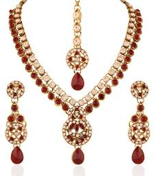 Buy Eye-Catchy Gold plated Australian Diamond Stone  Necklace Set necklace-set online