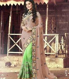 Buy Beige  and  Light Green embroidered georgette saree with blouse heavy-work-saree online
