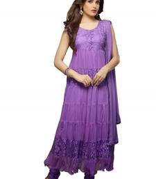 Buy Purple brasso net semi stitched salwar with dupatta party-wear-salwar-kameez online