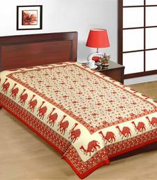 Buy Red Color Camel Print Pure Cotton Single Bedsheet bed-sheet online