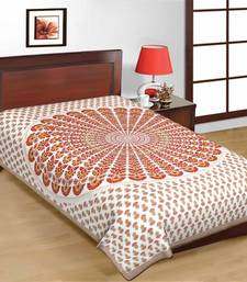 Buy Multicolor Round Design Sanganeri Print Pure Cotton Single Bedsheet bed-sheet online