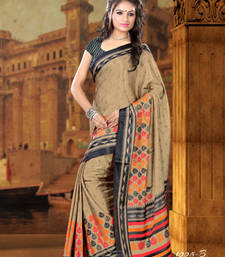 Buy Beige and  dark navy blue printed crepe saree with blouse crepe-saree online