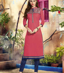 Buy Pink embroidered Cotton kurtas-and-kurtis kurtas-and-kurti online