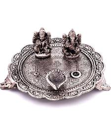 Buy White Metal Lord Laxmi Ganesh With Dia Thali religious-item online
