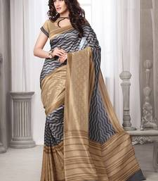 Buy Grey printed art_Silk saree with blouse bhagalpuri-silk-saree online