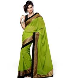 Buy Green plain chiffon saree with blouse chiffon-saree online