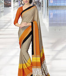 Buy Beige  and  Orange printed crepe saree with blouse crepe-saree online