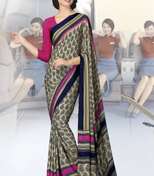 Buy Beige  and  Pink printed crepe saree with blouse crepe-saree online