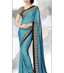Buy Light Blue printed crepe saree with blouse crepe-saree online