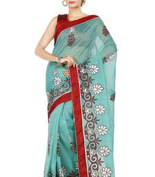 Buy Green embroidered Supernet saree with blouse supernet-saree online