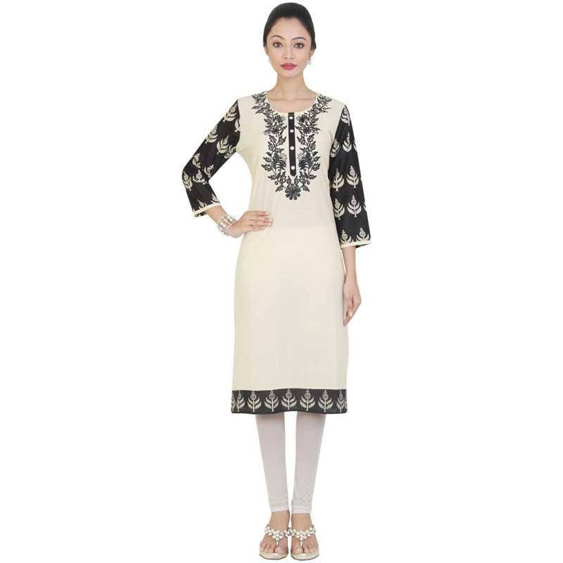 Buy Off White Embroidered Cotton Kurtasandkurtis Online