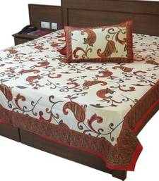 Buy Rajasthaand Gold Priandt Cottoand Double Bed Sheet bed-sheet online