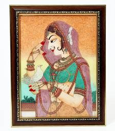 Buy Cute Bani Thani With Pigeon Gemstone Painting painting online