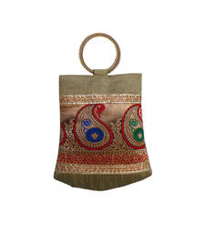 Buy Double Bangle Handbag with Multy Brocade Patch (Dark Gold) handbag online