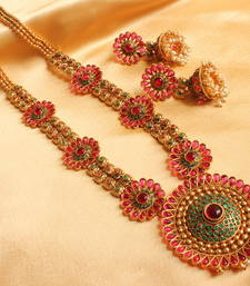 Buy Gorgeous antique  kemp-green designer pendant  haar with earrings necklace-set online