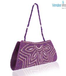 Buy Vendee Lifestyle Purple Beads Handmade Clutch (7321) clutch online