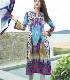 Buy Blue embroidered Cotton unstitched salwar with dupatta party-wear-salwar-kameez online