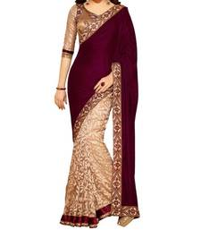 Buy maroon embroidered velvet saree with blouse velvet-saree online