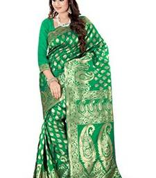 Buy green plain art_silk saree with blouse banarasi-silk-saree online