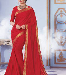 Buy Red Plain Silk saree with blouse wedding-saree online